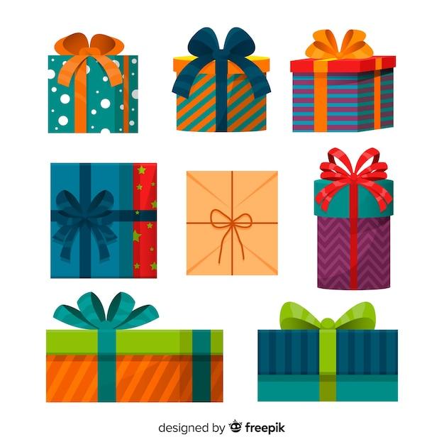 フラットデザインのクリスマスギフトボックスコレクション 無料ベクター