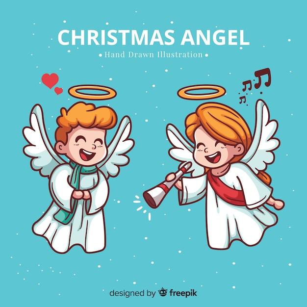 素敵な手描きのクリスマス天使の背景 無料ベクター
