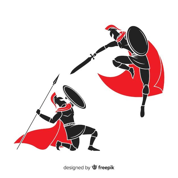 戦うスパルタンの戦士のシルエット 無料ベクター