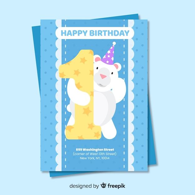 最初の誕生日はビート招待状 無料ベクター