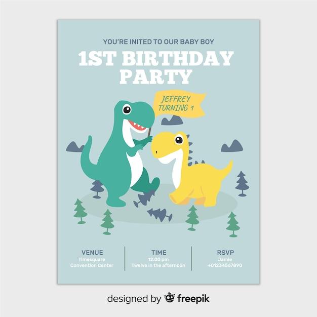 最初の誕生日の恐竜招待状 無料ベクター