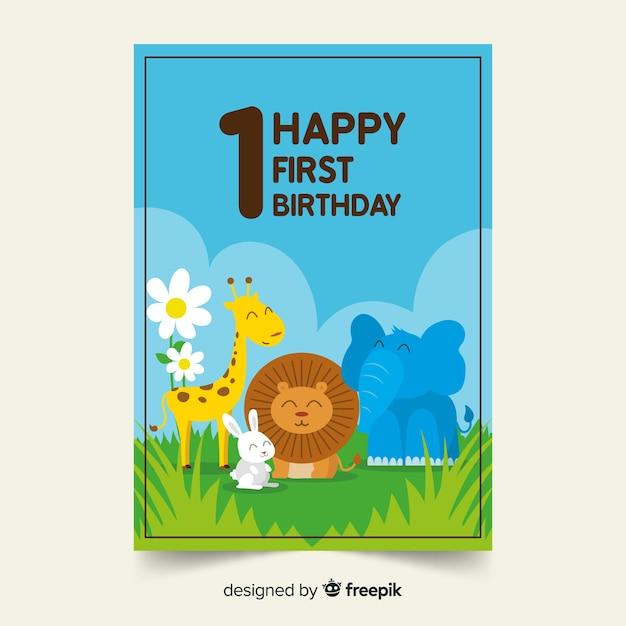 最初の誕生日の動物の友達カードのテンプレート 無料ベクター