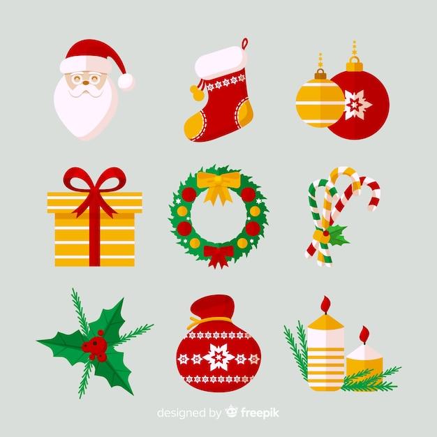 フラットデザインのクリスマスエレメントコレクション 無料ベクター