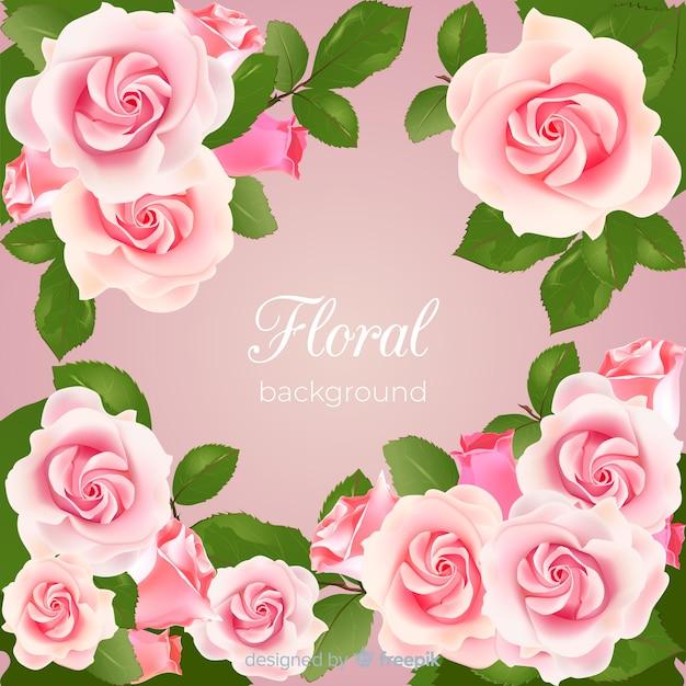 Прекрасный цветочный фон с реалистичным дизайном Бесплатные векторы