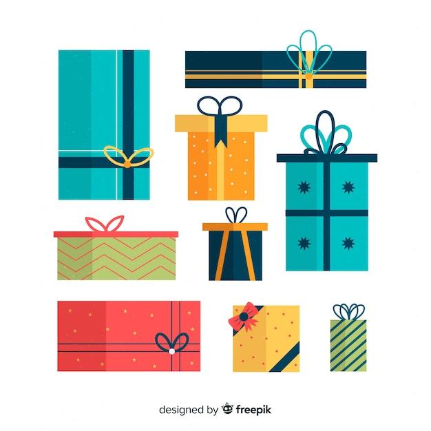フラットデザインのカラフルなクリスマスギフトボックスコレクション 無料ベクター
