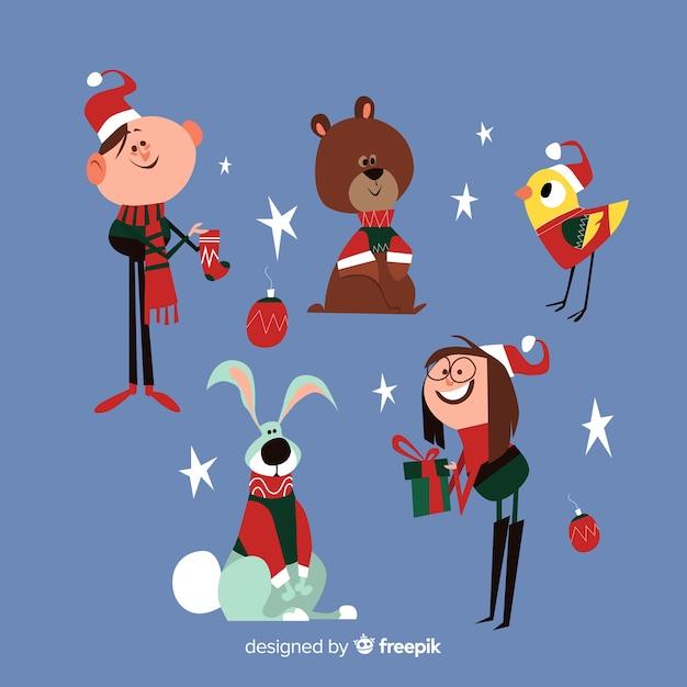 フラットデザインのクリスマスキュートなキャラクターコレクション 無料ベクター