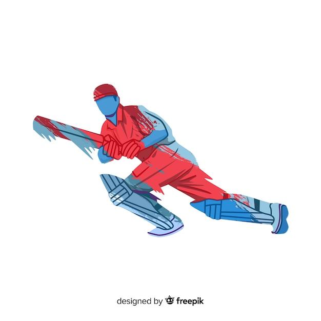 Бэтсмен играет в крикет в красно-синем акварельном стиле Бесплатные векторы