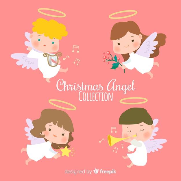 フラットデザインのかわいいクリスマスの天使コレクション 無料ベクター