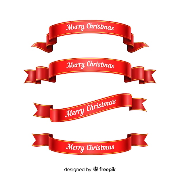 赤いクリスマスリボンのグラデーションコレクション 無料ベクター