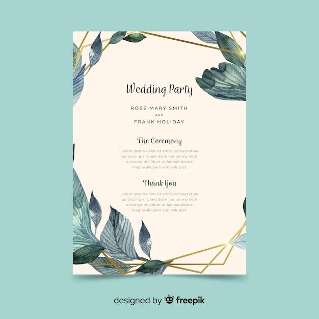 水彩の花と素敵な結婚式のプログラム 無料ベクター