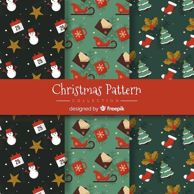 フラットデザインのクリスマスパターンコレクション 無料ベクター