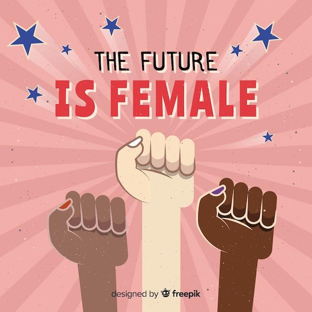 グランジ拳を持つフェミニストの構成 無料ベクター