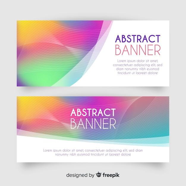 Абстрактные баннеры с градиентным стилем Бесплатные векторы