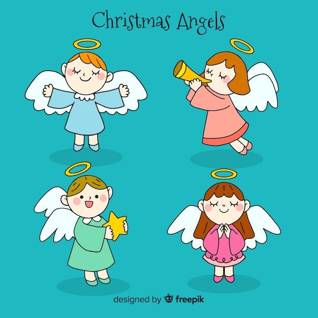手描きの素敵なクリスマスの天使のコレクション 無料ベクター