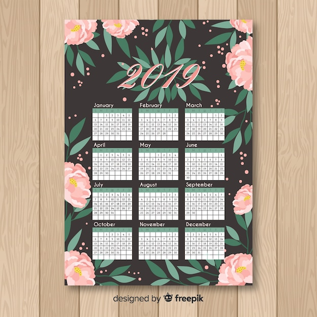 手描きの牡丹のカレンダーのテンプレート 無料ベクター