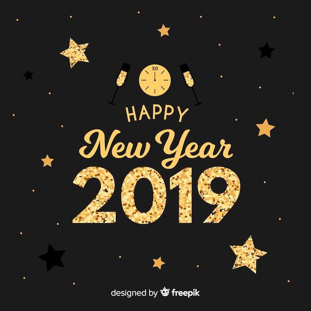 Новый год фона элементов блеска Бесплатные векторы