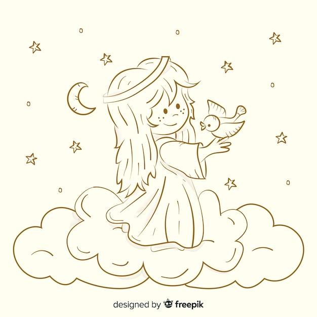 Рождественский фон сепия ангела Бесплатные векторы