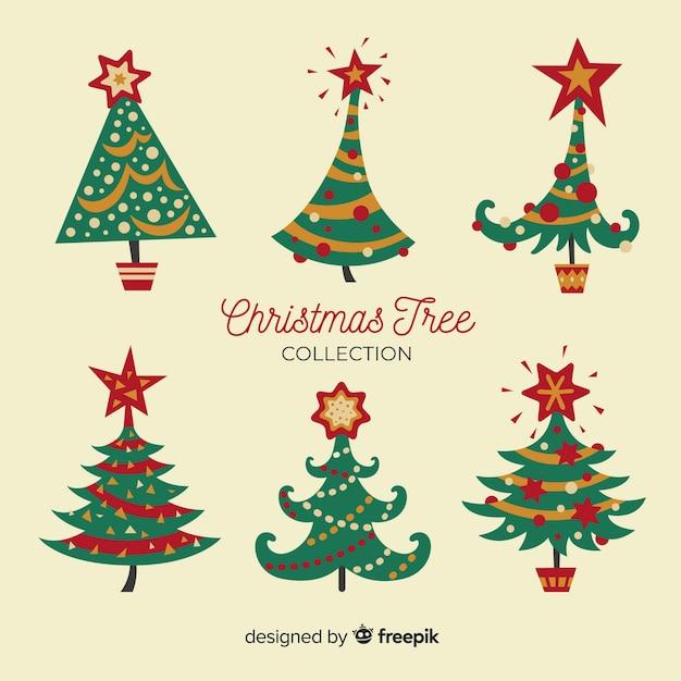 クリスマスツリーセット 無料ベクター