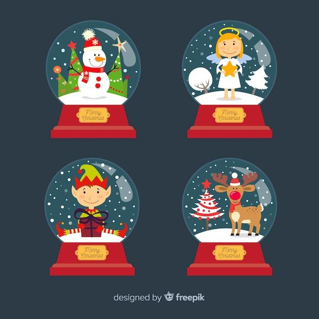 Рождественский снежный ком с персонажами Бесплатные векторы