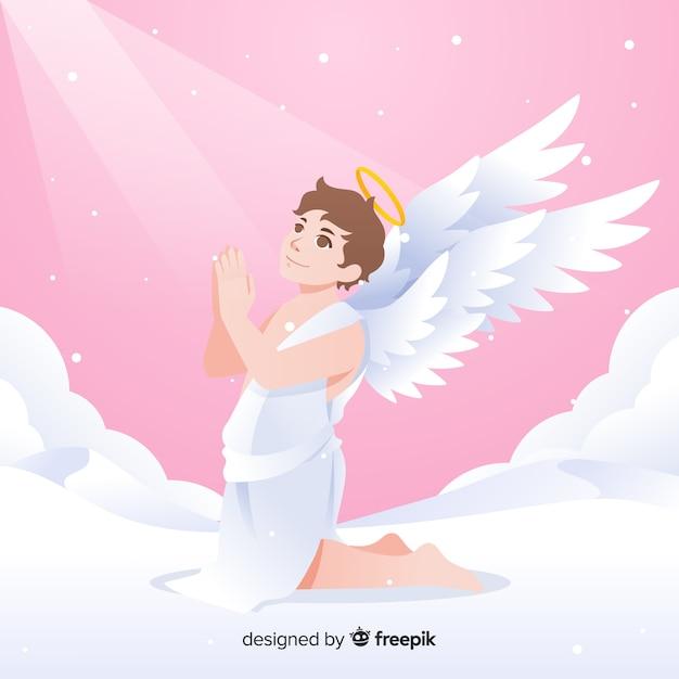 Рождественский молящийся фон ангела Бесплатные векторы
