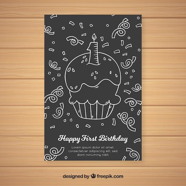 最初の誕生日の黒板のカップケーキのカードのテンプレート 無料ベクター