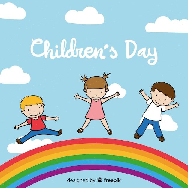 Детский день рисованной фоне неба Бесплатные векторы
