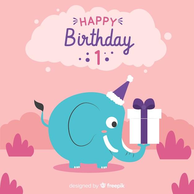 最初の誕生日カード 無料ベクター