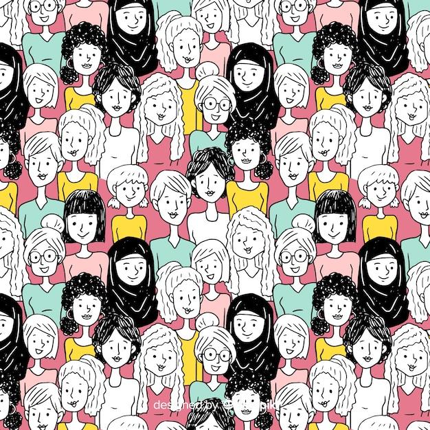 カラフルな手描きの女性のパターン 無料ベクター