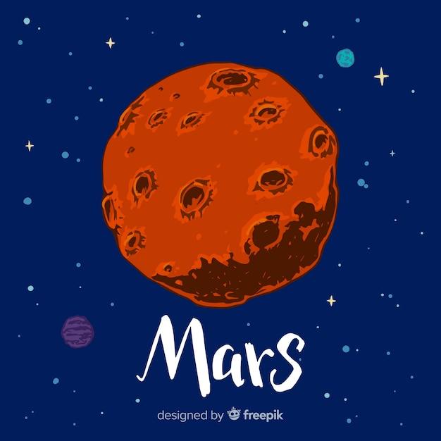 火星の手は、背景を描いた 無料ベクター
