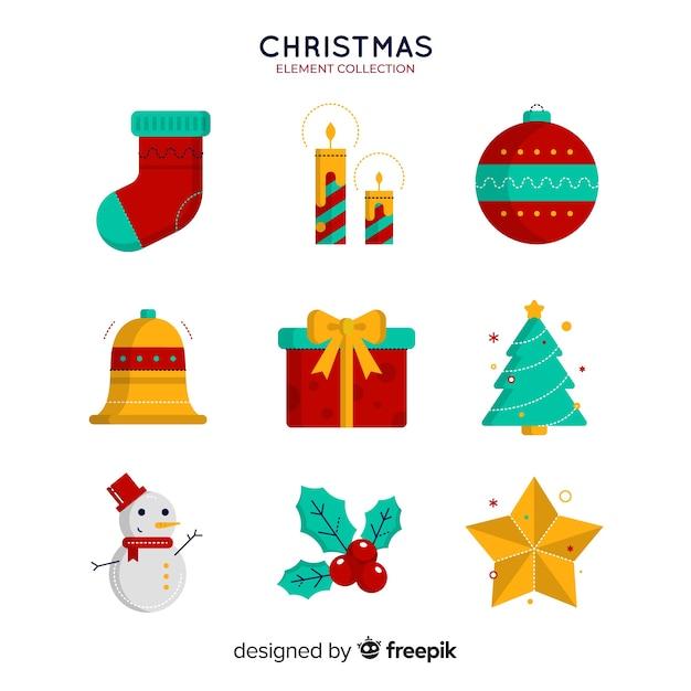 平面デザインのメリークリスマス要素コレクション 無料ベクター