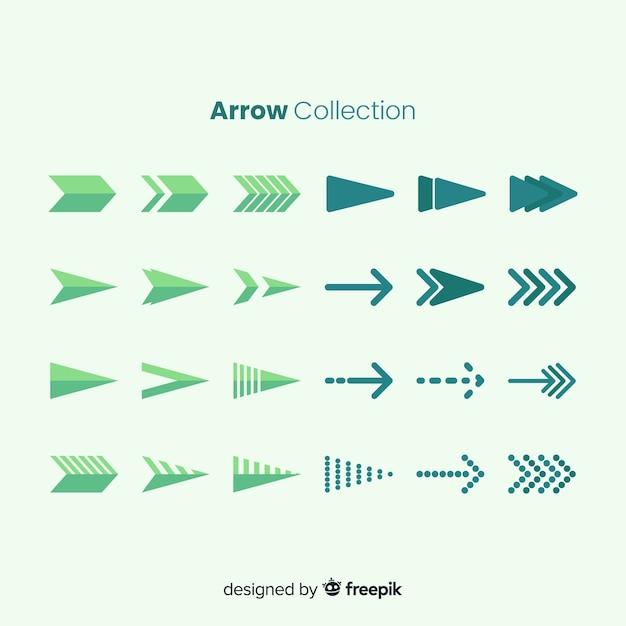 緑の矢印のコレクション 無料ベクター