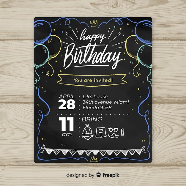 黒板の風船の最初の誕生日カードのテンプレート 無料ベクター