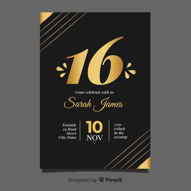 Сладкое шестнадцать приглашений на день рождения Бесплатные векторы