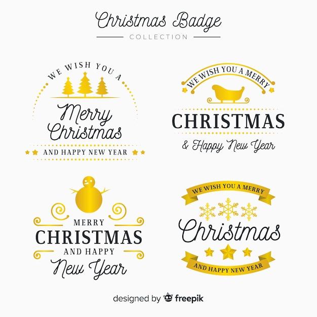 ゴールデンクリスマスラベルのエレガントなセット 無料ベクター