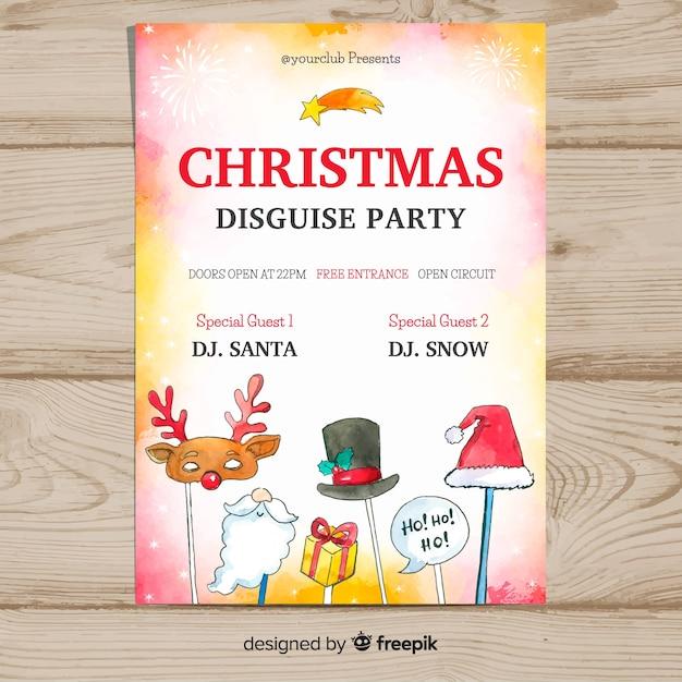 水彩クリスマスパーティーのポスターテンプレート 無料ベクター