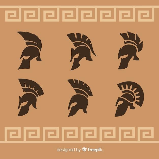 Силуэт коллекции спартанских шлемов Бесплатные векторы