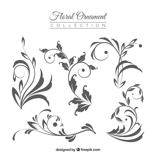 Коллекция цветочных украшений Бесплатные векторы