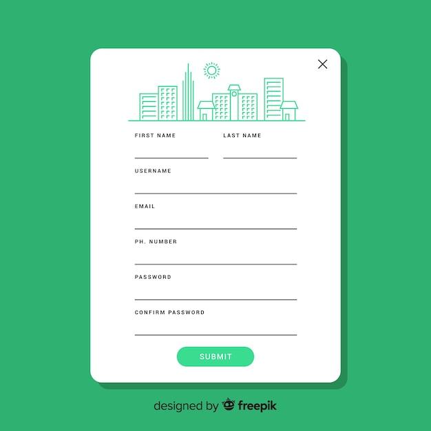 Шаблон формы регистрации с плоским дизайном Бесплатные векторы