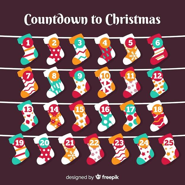 素敵なクリスマスアドベントカレンダー 無料ベクター