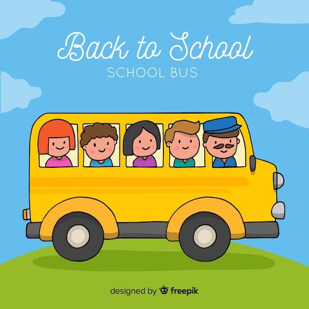 学校バスの背景に戻る 無料ベクター