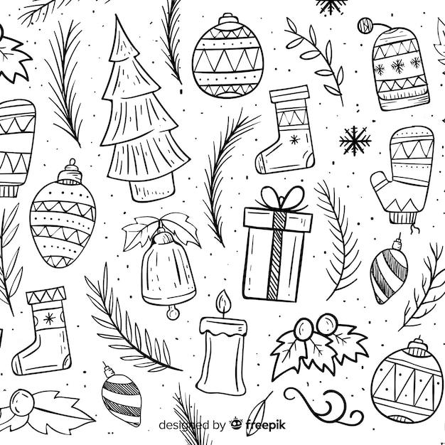 Элементы дудла рождественский фон Бесплатные векторы
