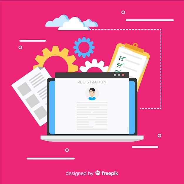 オンライン登録のコンセプト 無料ベクター