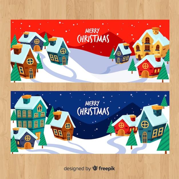 手描きの家クリスマスの町のバナー 無料ベクター