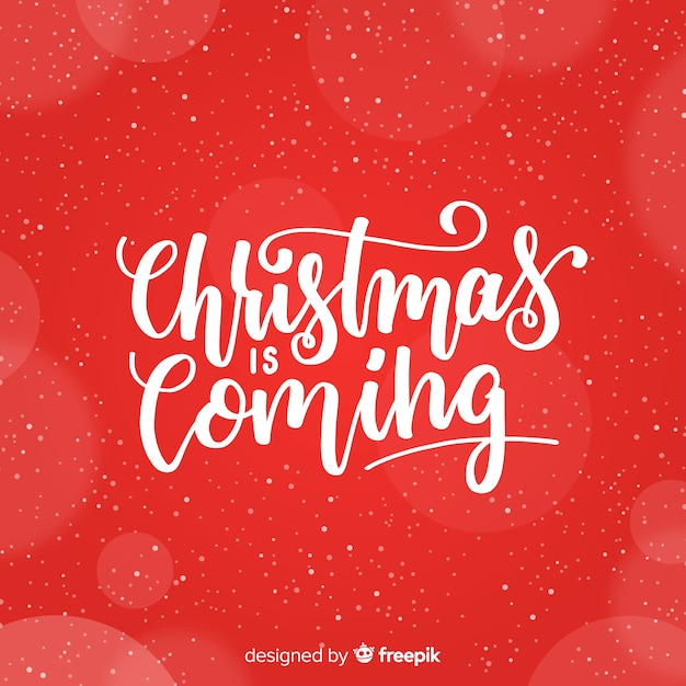 美しい赤いクリスマスレタリングの背景 無料ベクター