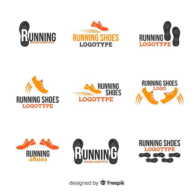 Коллекция шаблонов логотипов современной спортивной обуви Бесплатные векторы