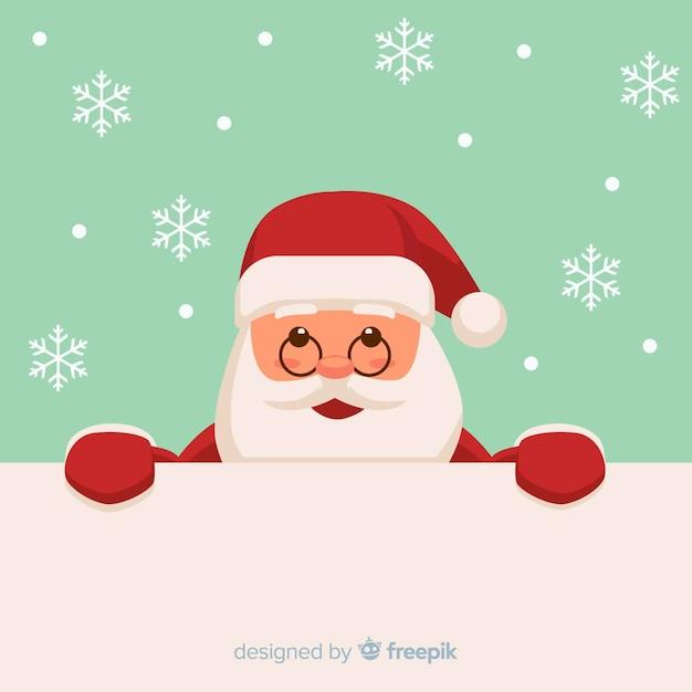 サンタを覗いているクリスマスの背景 無料ベクター
