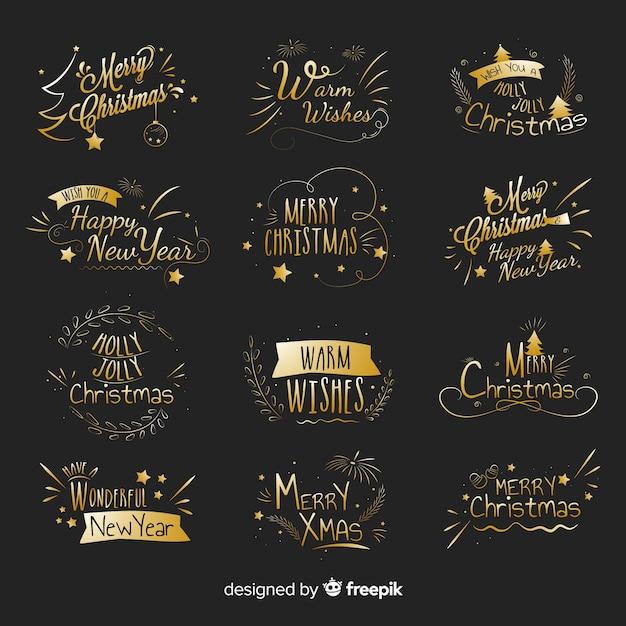 クリスマスゴールデンラベルパック 無料ベクター