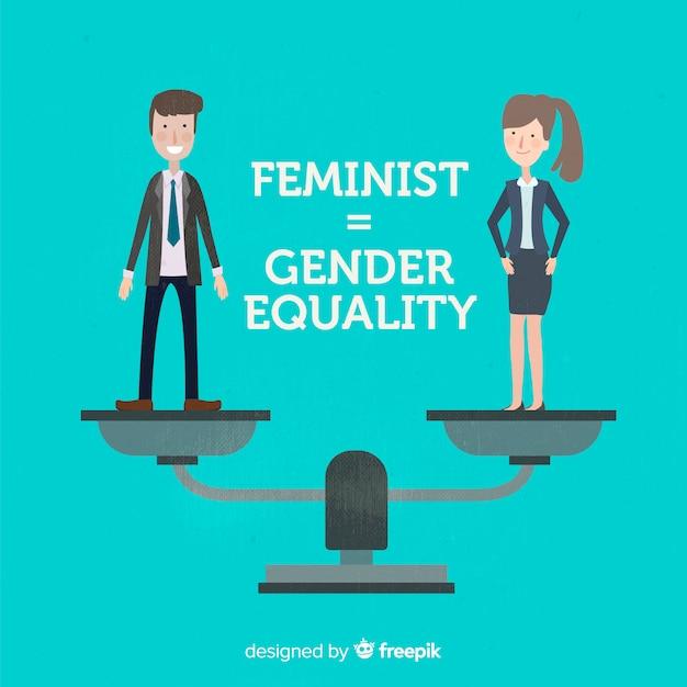 フェミニズムの概念の背景 無料ベクター