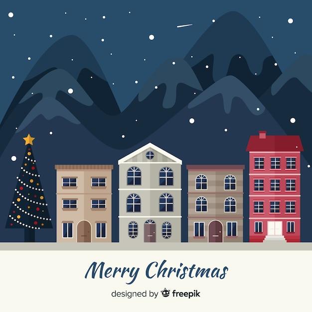 クリスマスタウンの背景 無料ベクター
