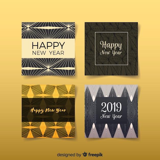 Новогодние старинные открытки Бесплатные векторы